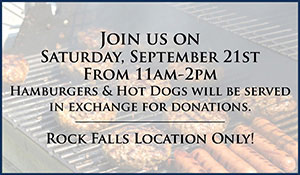 Serving hamburgers and hotdogs to support the Twin Cities PADS Homeless Shelter - every donation helps! Saturday, September 21st, 11am - 2pm at Brothers Flooring in Rock Falls!