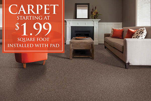 Carpet starting at $1.99 sq.ft. installed with pad this month at Brothers Flooring!