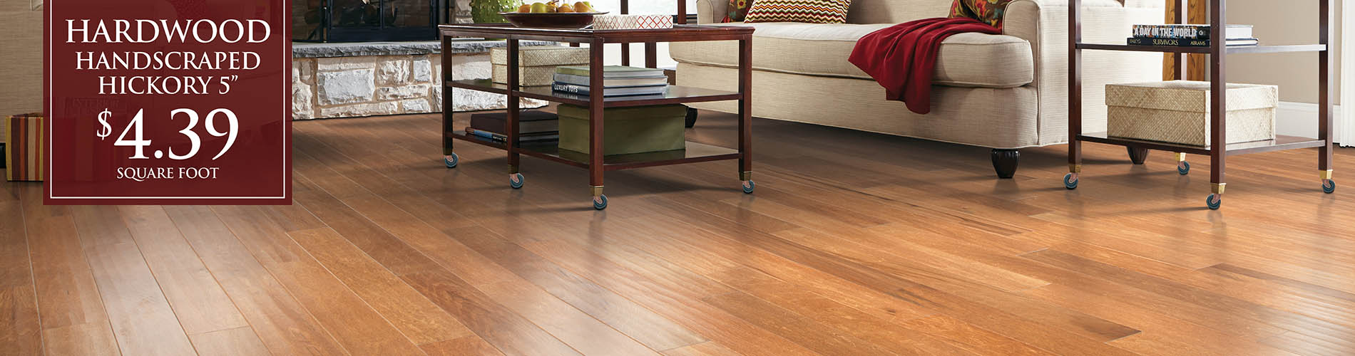 "Handscraped 5"" hickory hardwood flooring on sale $4.39 sq.ft. this month at Brothers Flooring!"