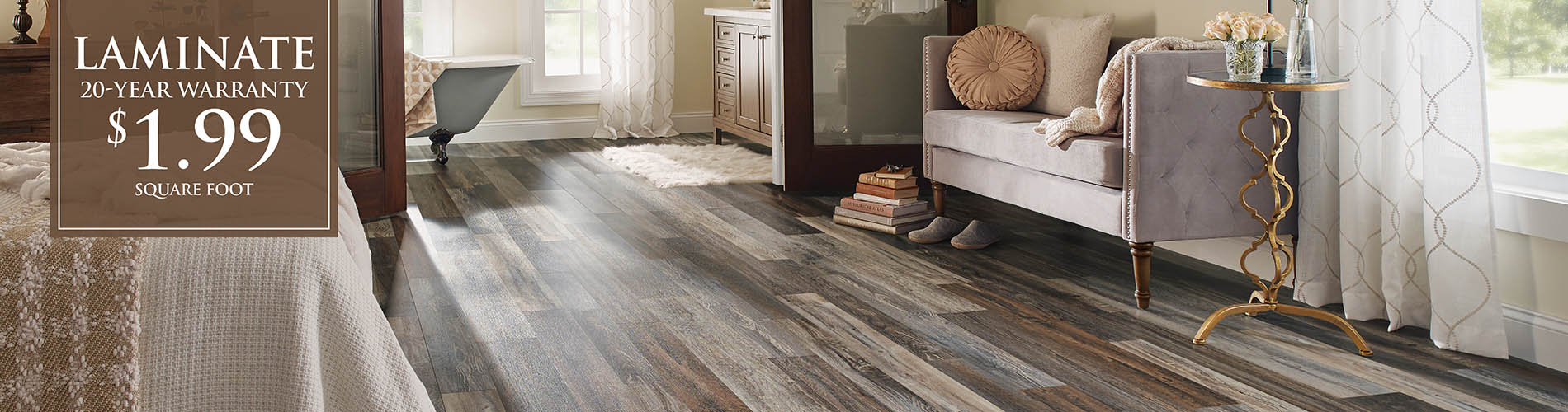 Laminate on sale just $1.99 sq.ft. with an included 20 year warranty!