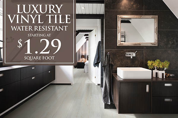 Water resistant luxury vinyl tile starting at $1.29 sq.ft. this month at Brothers Flooring!