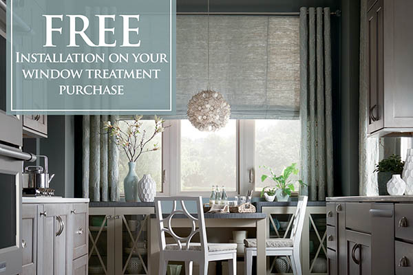 Free installation on your window treatment purchase this month at Brothers Flooring!